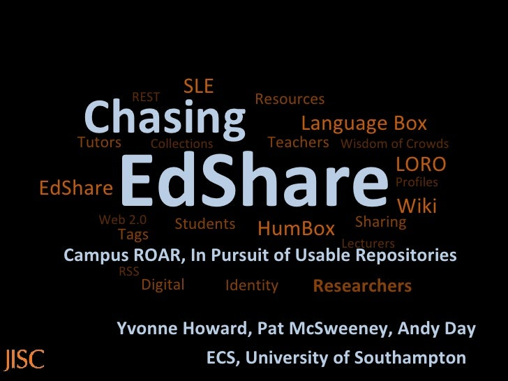 EdShare Chasing Campus ROAR, In Pursuit of Usable Repositories Yvonne Howard, Pat McSweeney, Andy Day Language Box HumBox ...