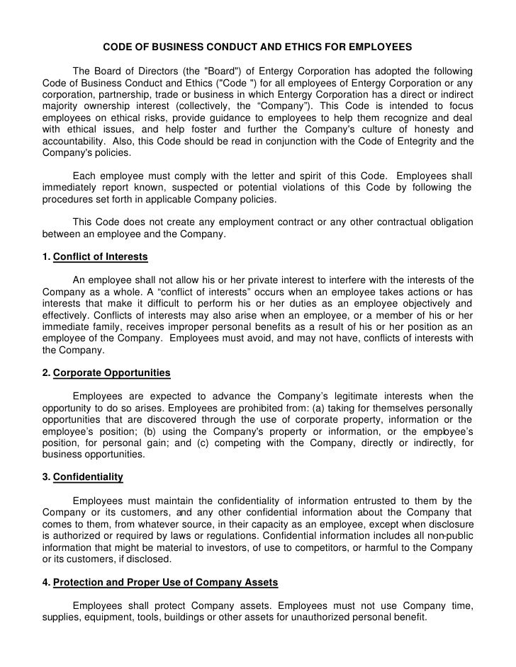 CODE OF BUSINESS CONDUCT AND ETHICS FOR EMPLOYEES         The Board of Directors (the quot;Boardquot;) of Entergy Corporat...