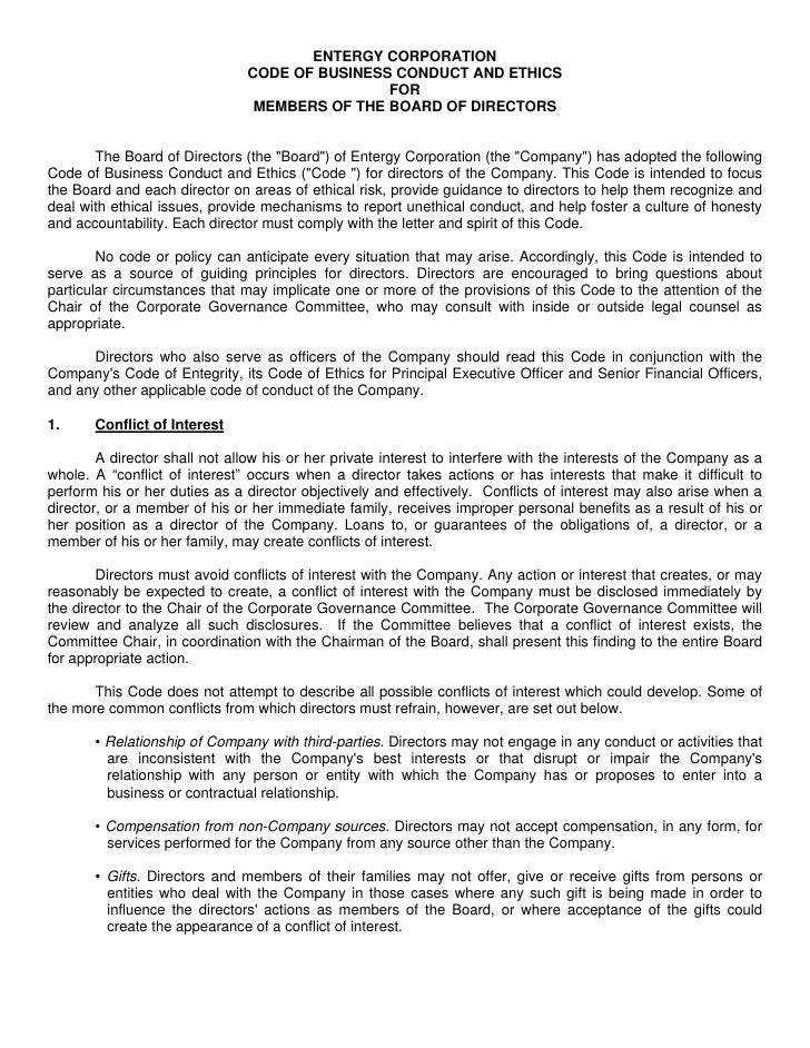 ENTERGY CORPORATION                                CODE OF BUSINESS CONDUCT AND ETHICS                                    ...
