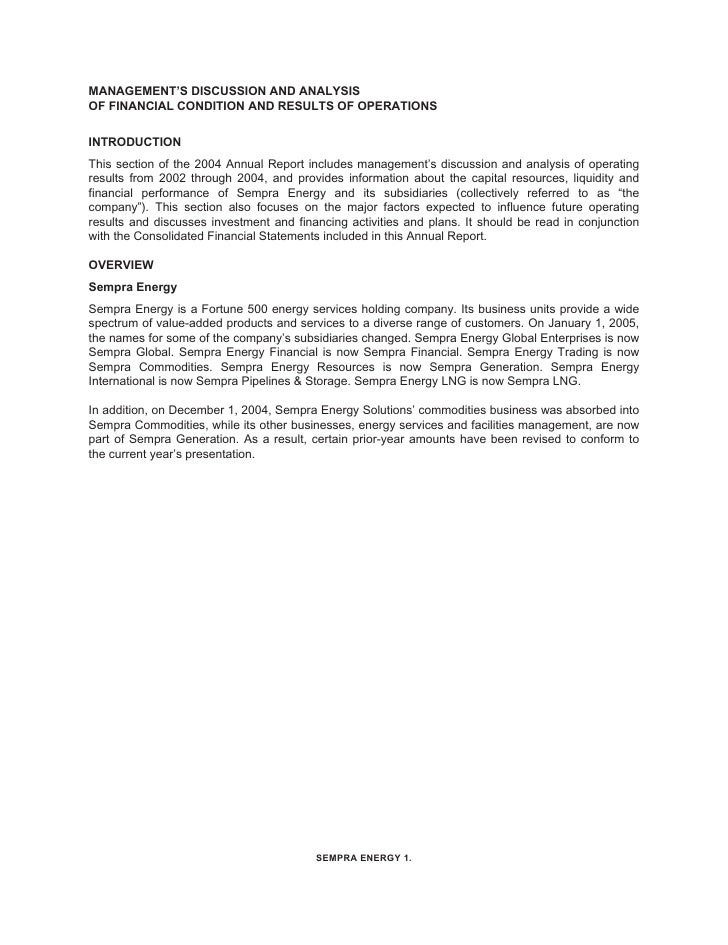 MANAGEMENT'S DISCUSSION AND ANALYSIS OF FINANCIAL CONDITION AND RESULTS OF OPERATIONS   INTRODUCTION This section of the 2...