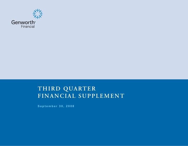 T H I R D QUA RT E R FINANCIAL SUPPLEMENT September 30, 2008