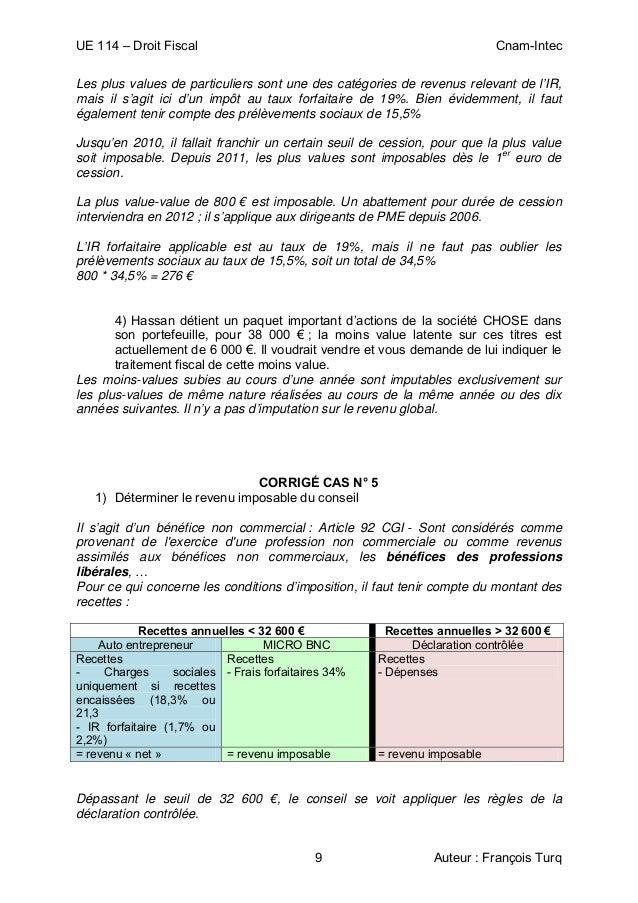 UE 114 – Droit Fiscal Cnam-Intec 9 Auteur : François Turq Les plus values de particuliers sont une des catégories de reven...