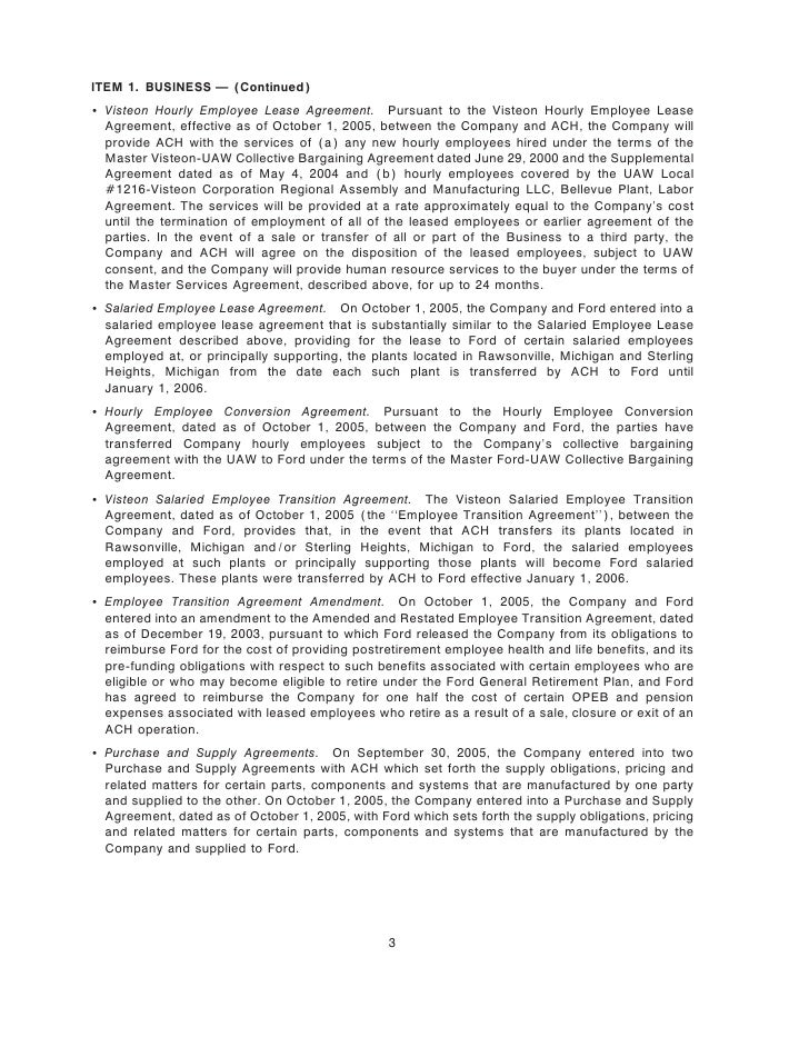 ITEM 1. BUSINESS Ì (Continued) ' Visteon Hourly Employee Lease Agreement. Pursuant to the Visteon Hourly Employee Lease   ...