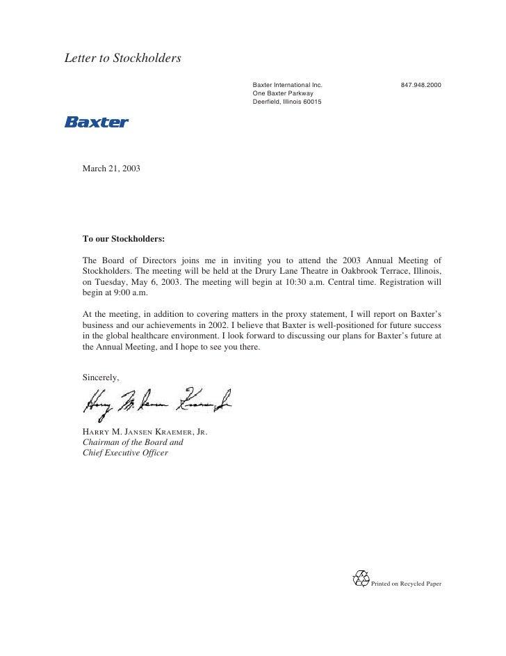 Letter to Stockholders                                                  Baxter International Inc.                  847.948...