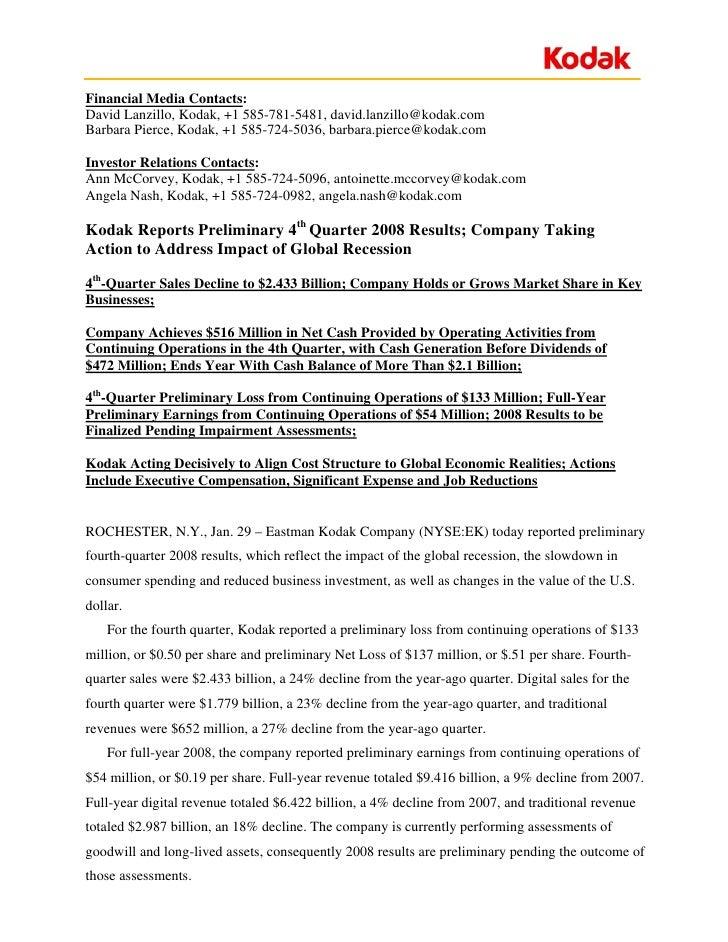 Financial Media Contacts: David Lanzillo, Kodak, +1 585-781-5481, david.lanzillo@kodak.com Barbara Pierce, Kodak, +1 585-7...