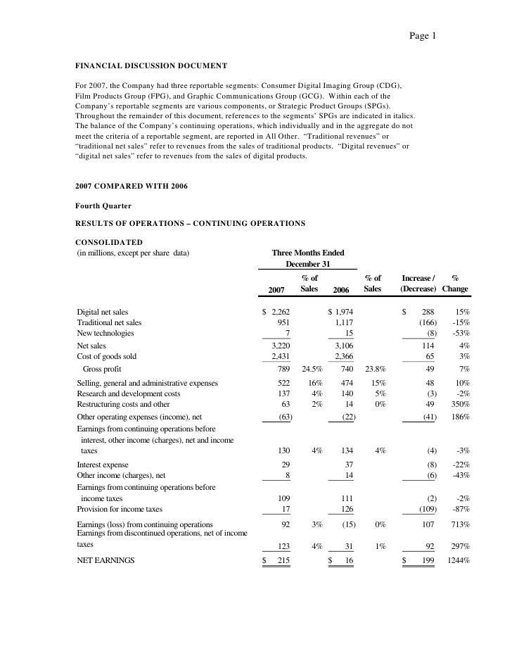Page 1  FINANCIAL DISCUSSION DOCUMENT  For 2007, the Company had three reportable segments: Consumer Digital Imaging Group...