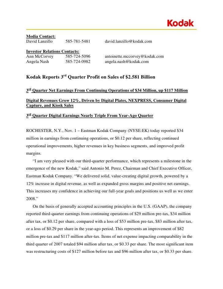Media Contact: David Lanzillo         585-781-5481           david.lanzillo@kodak.com  Investor Relations Contacts: Ann Mc...