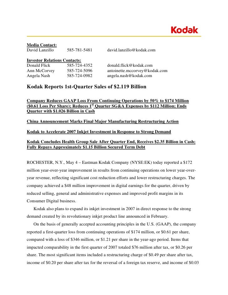 Media Contact: David Lanzillo         585-781-5481           david.lanzillo@kodak.com  Investor Relations Contacts: Donald...