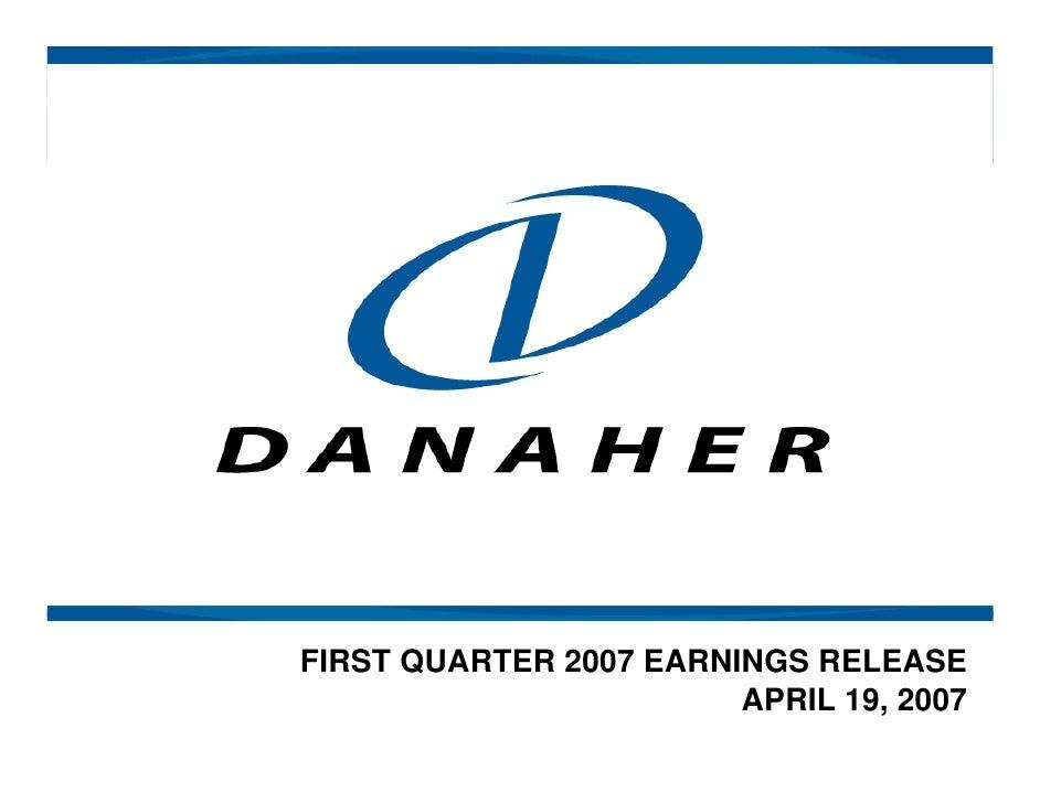 FIRST QUARTER 2007 EARNINGS RELEASE                         APRIL 19, 2007