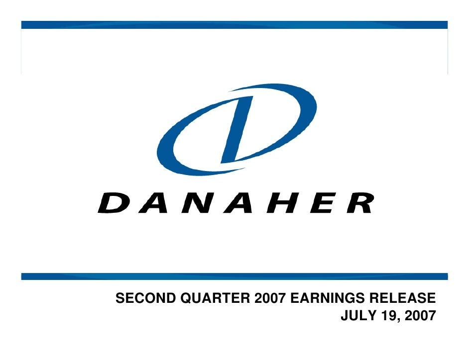 SECOND QUARTER 2007 EARNINGS RELEASE                           JULY 19, 2007