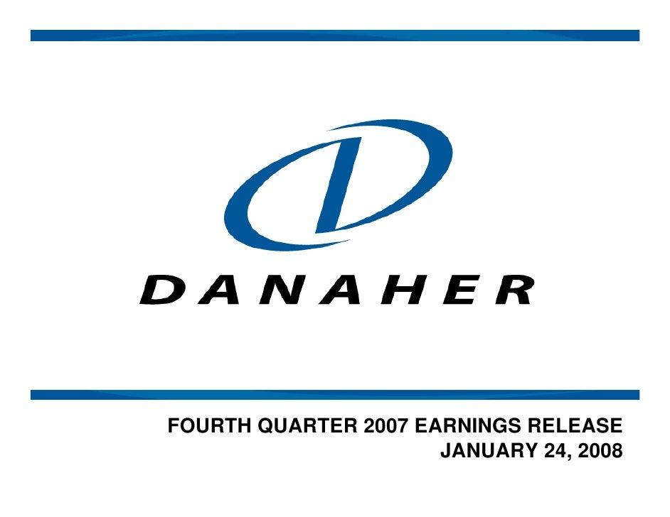 FOURTH QUARTER 2007 EARNINGS RELEASE                       JANUARY 24, 2008
