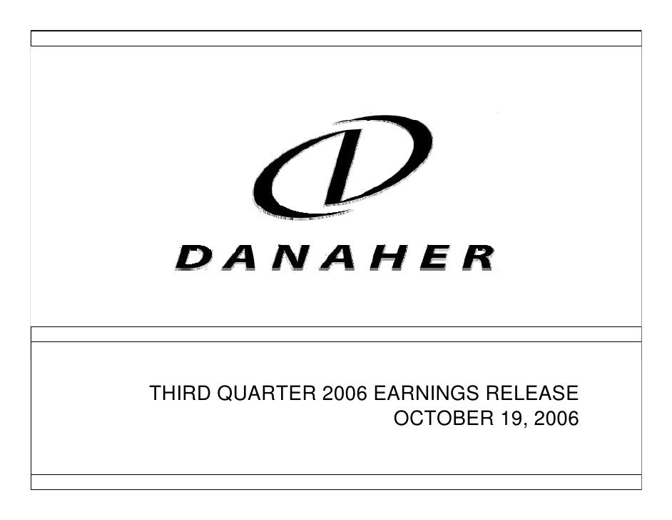 THIRD QUARTER 2006 EARNINGS RELEASE                                       >                      OCTOBER 19, 2006