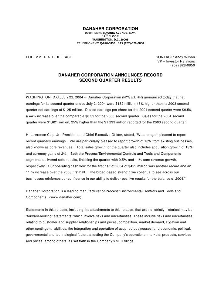 DANAHER CORPORATION                                      2099 PENNSYLVANIA AVENUE, N.W.                                   ...