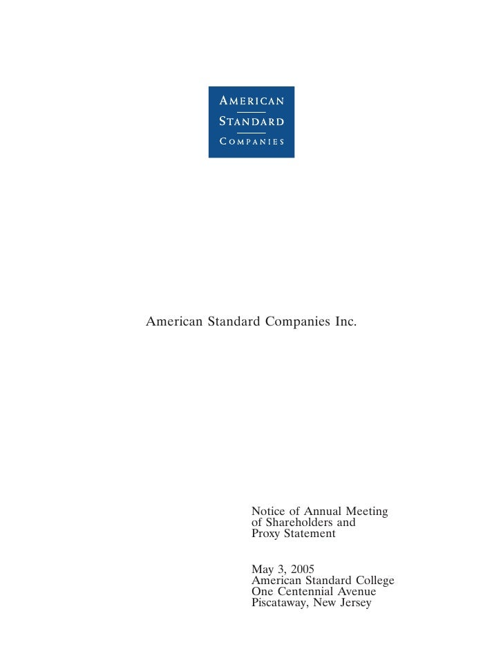 3MAR200502113192     American Standard Companies Inc.                    Notice of Annual Meeting                of Shareh...
