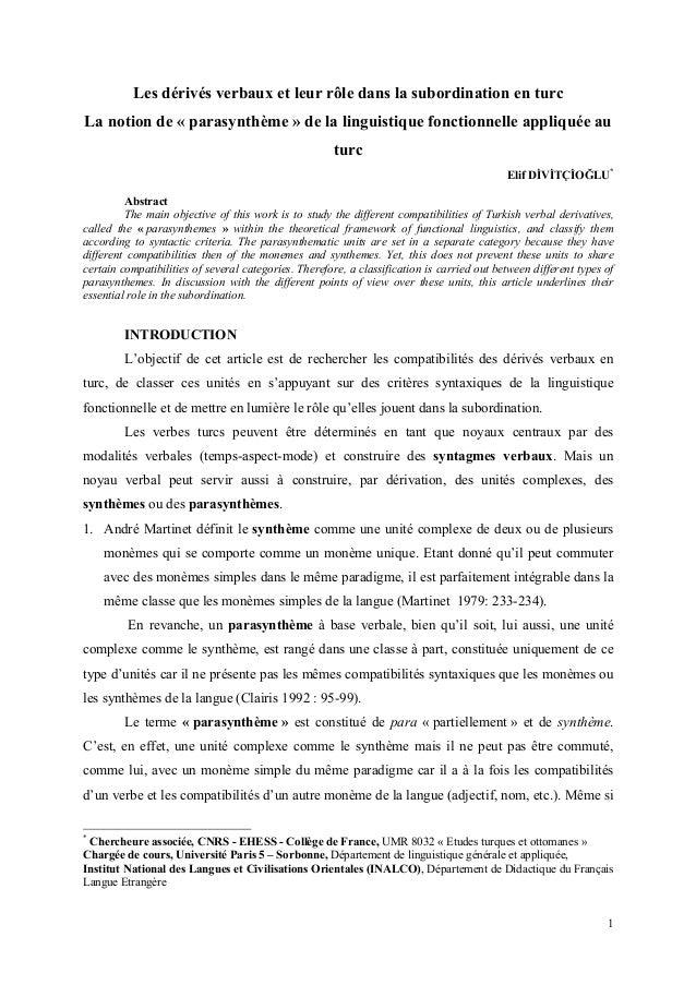 1Les dérivés verbaux et leur rôle dans la subordination en turcLa notion de « parasynthème » de la linguistique fonctionne...