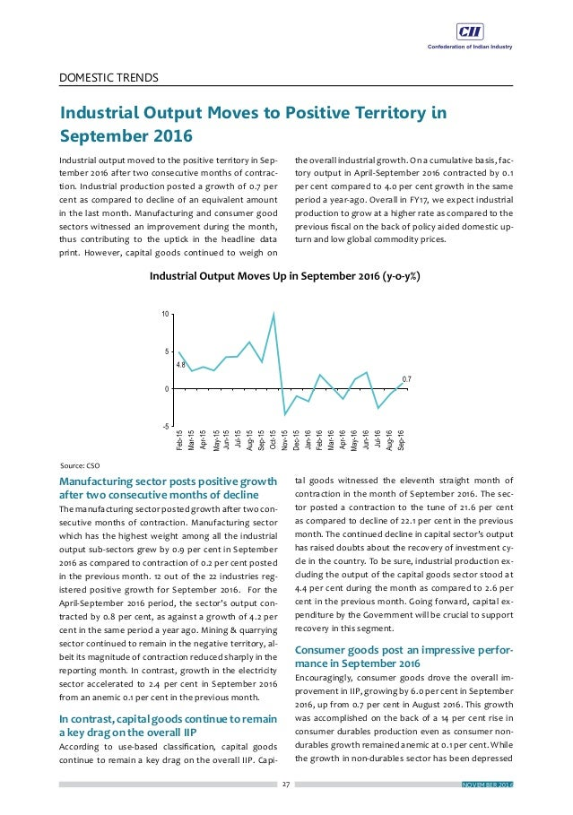 31 DOMESTIC TRENDS NOVEMBER 2016 Merchandise trade deficit widens sharply in October 2016 Owing to positive growth posted ...