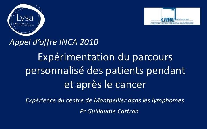 Appel d'offre INCA 2010      Expérimentation du parcours    personnalisé des patients pendant           et après le cancer...