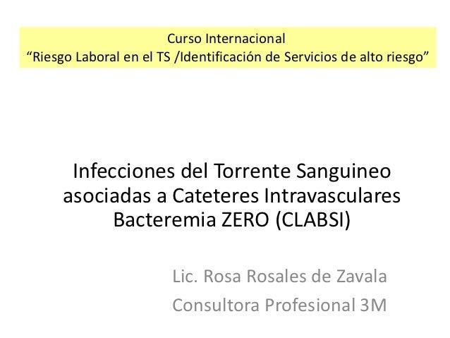 """Curso Internacional""""Riesgo Laboral en el TS /Identificación de Servicios de alto riesgo""""       Infecciones del Torrente Sa..."""