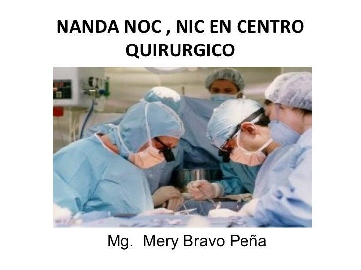 NANDA NOC , NIC EN CENTRO      QUIRURGICO     Mg. Mery Bravo Peña