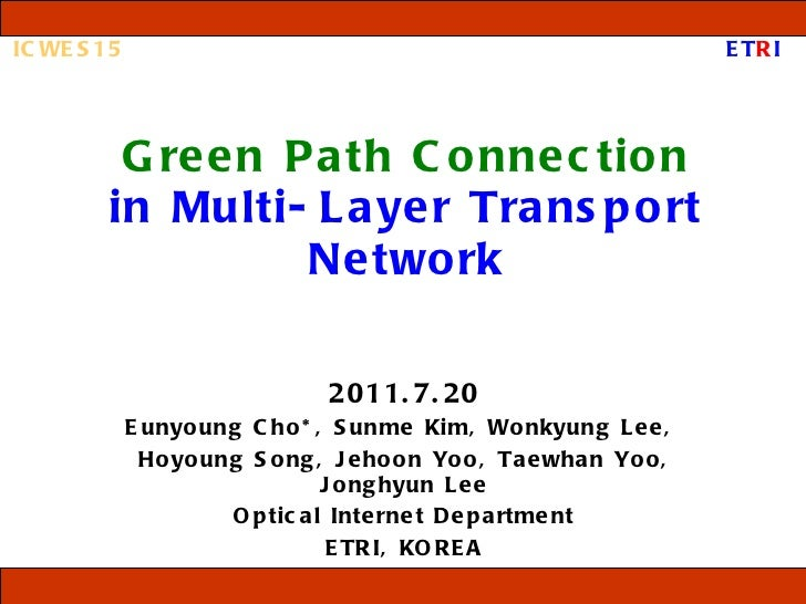 Green Path Connection in Multi-Layer Transport Network 2011.7.20 Eunyoung Cho*,  Sunme Kim, Wonkyung Lee,  Hoyoung Song, J...