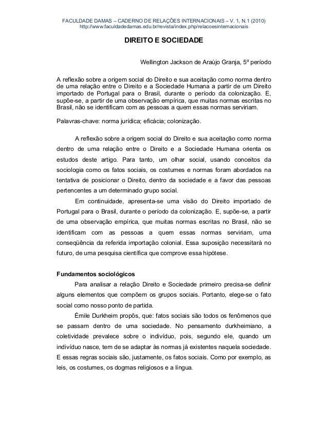FACULDADE DAMAS – CADERNO DE RELAÇÕES INTERNACIONAIS – V. 1, N.1 (2010) http://www.faculdadedamas.edu.br/revista/index.php...