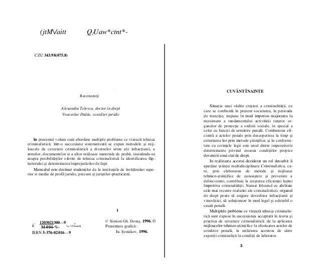 (jtM/aitt Q/Uaw*ctnt*- CZU 343.98(075.8) ■ Recenzenţi: Alexandru Televca, doctor in drept Veaceslav Didâc, consilier jurid...