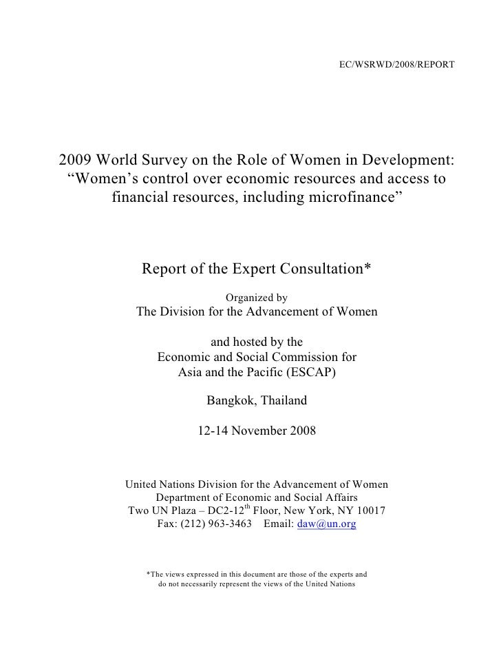 "EC/WSRWD/2008/REPORT     2009 World Survey on the Role of Women in Development:  ""Women's control over economic resources ..."