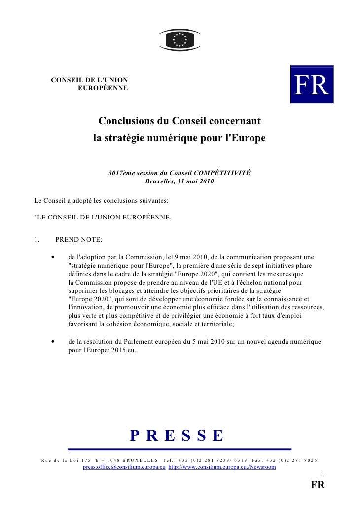 CONSEIL DE L'UNION               EUROPÉENNE                                                                         FR    ...
