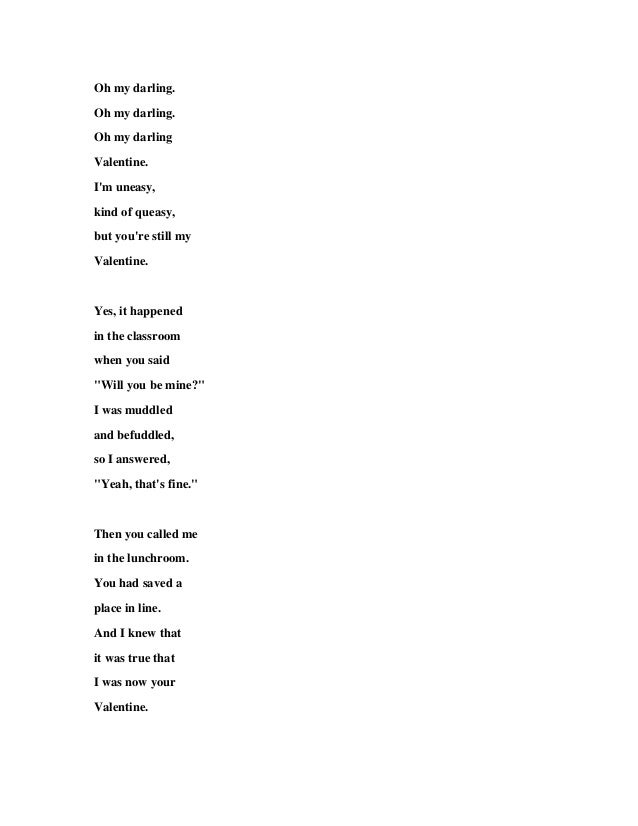 Lyric my darling wilco lyrics : Delighted Will You Be My Valentine Song Ideas - Valentine Gift ...