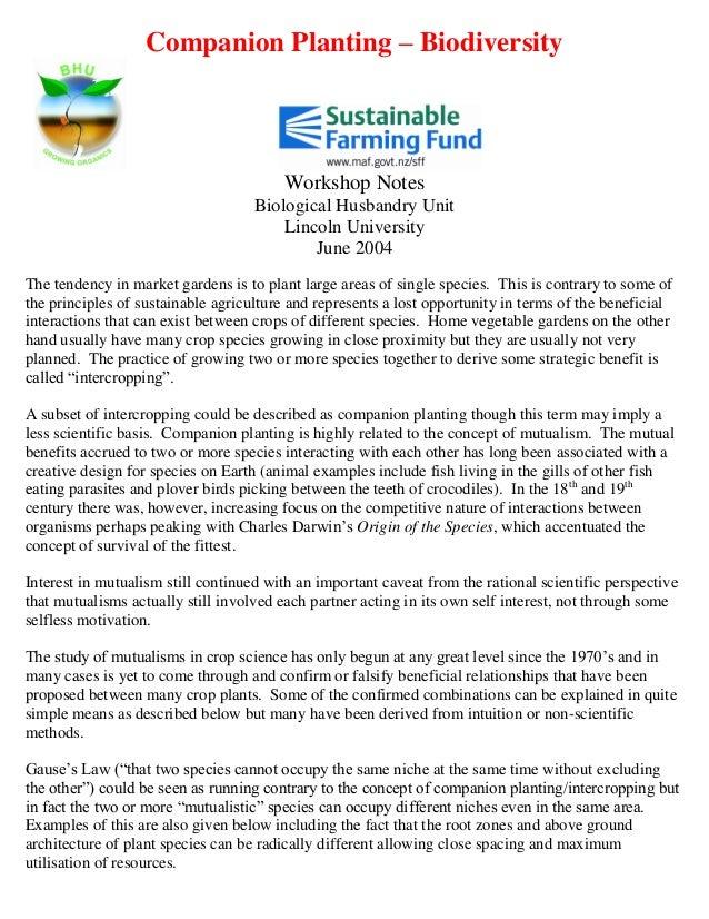 Companion Planting – Biodiversity                                        Workshop Notes                                   ...