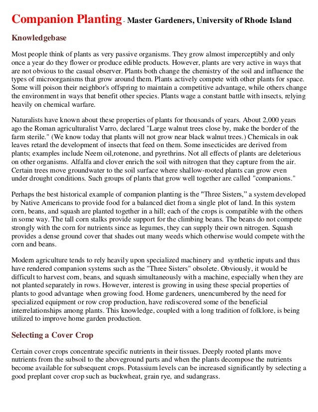 Companion Planting - Master Gardeners, University of Rhode IslandKnowledgebaseMost people think of plants as very passive ...