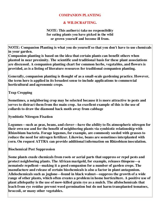 COMPANION PLANTING                                   & WILDCRAFTING.                        NOTE: This author(s) take no r...
