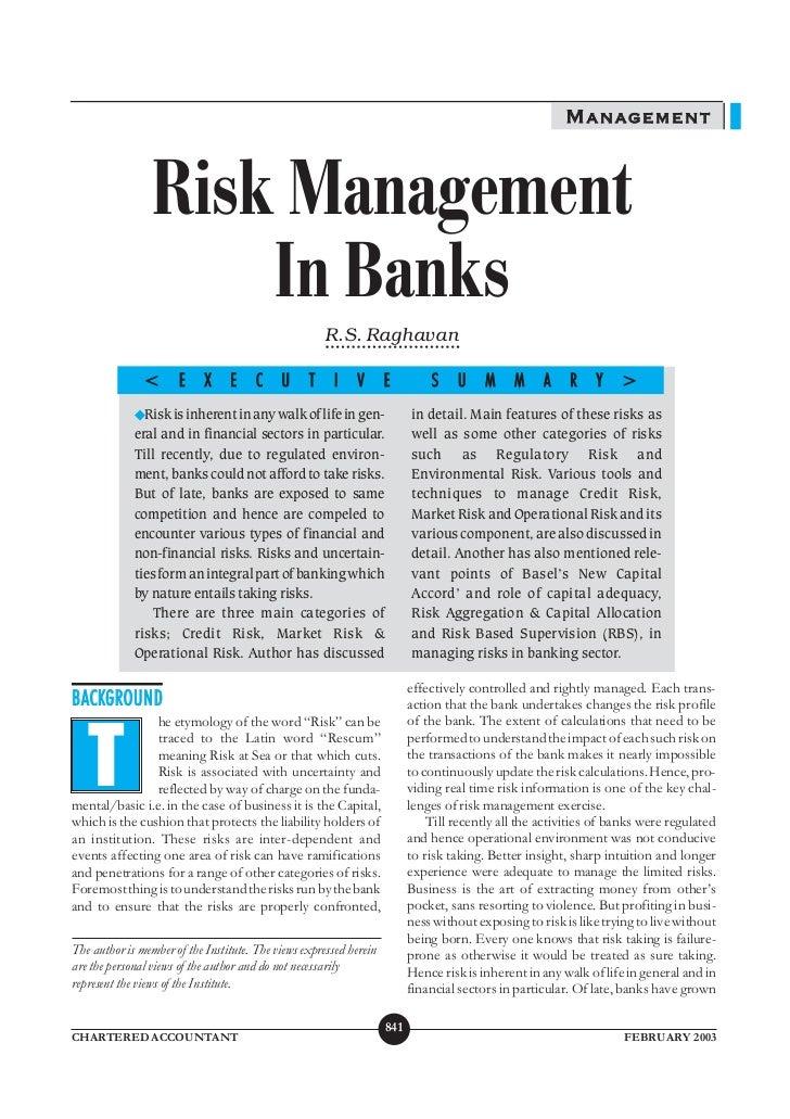 MANAGEMENT                 Risk Management                     In Banks                                                   ...