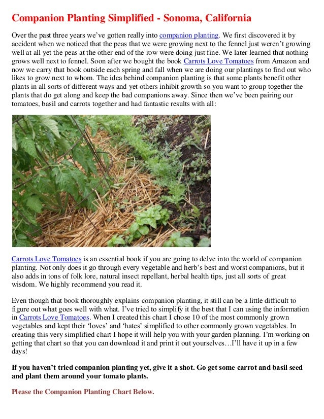 Companion Planting Simplified - Sonoma, CaliforniaOver the past three years we've gotten really into companion planting. W...