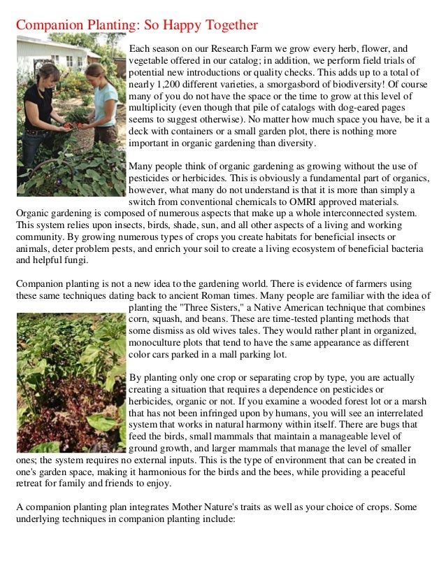 Companion Planting: So Happy Together                            Each season on our Research Farm we grow every herb, flow...