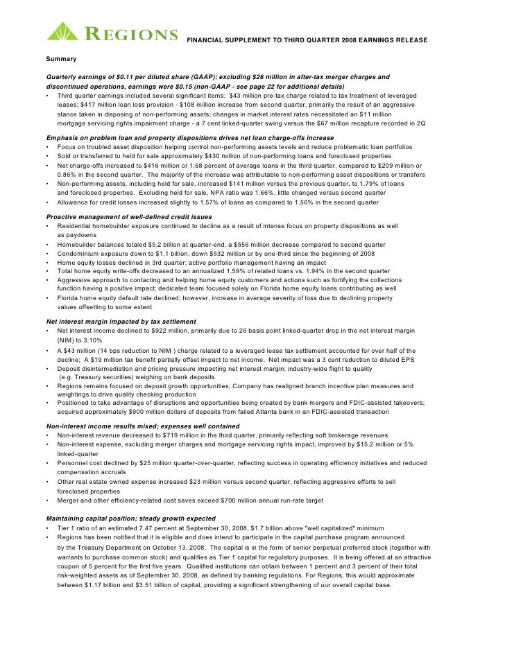 FINANCIAL SUPPLEMENT TO THIRD QUARTER 2008 EARNINGS RELEASE  Summary  Quarterly earnings of $0.11 per diluted share (GAAP)...