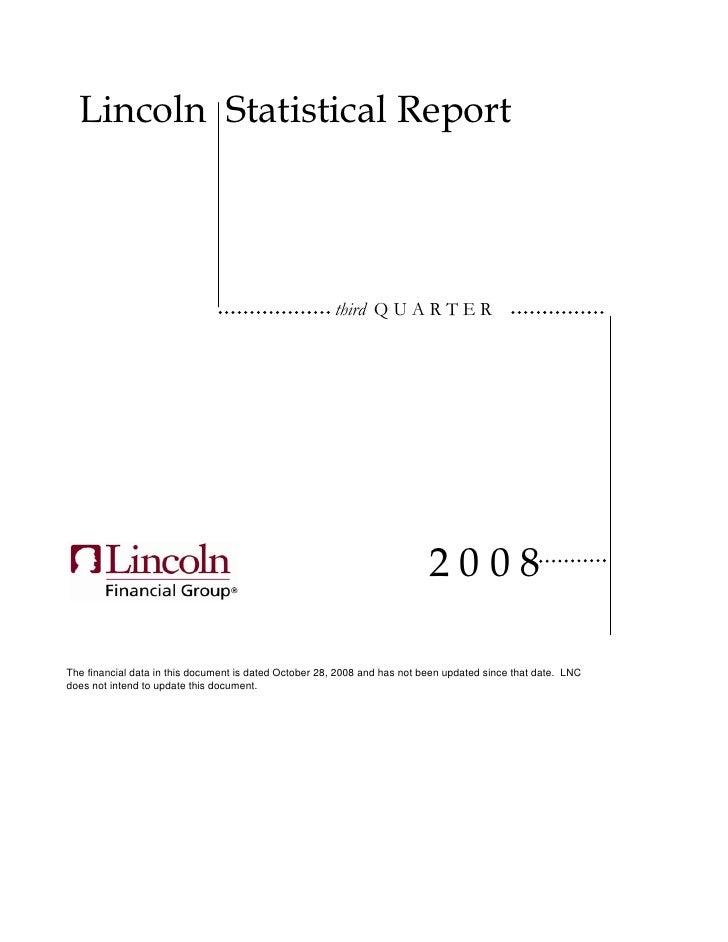 Lincoln Statistical Report                                                            third Q U A R T E R                 ...