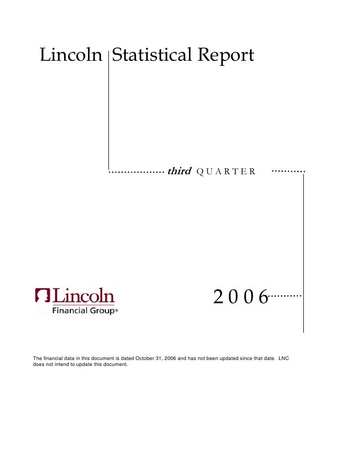 Lincoln Statistical Report                                                            third        QUARTER                ...