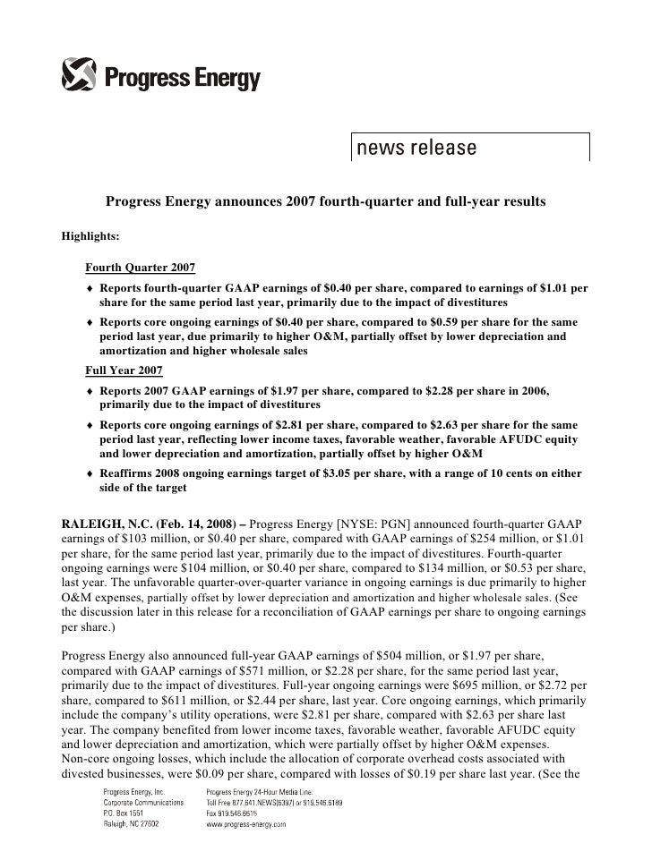Progress Energy announces 2007 fourth-quarter and full-year results  Highlights:      Fourth Quarter 2007     ♦ Reports fo...