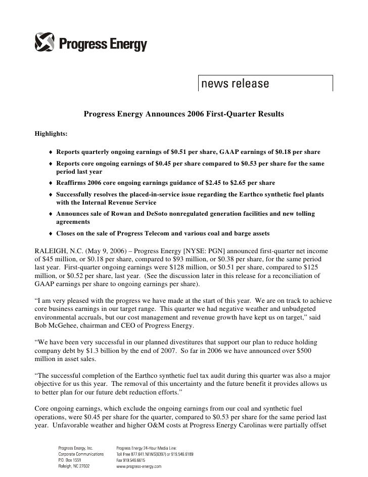 Progress Energy Announces 2006 First-Quarter Results  Highlights:      ♦ Reports quarterly ongoing earnings of $0.51 per s...