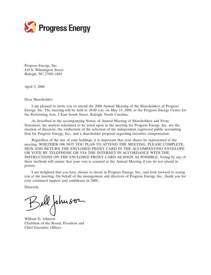 14MAR200811233692     Progress Energy, Inc. 410 S. Wilmington Street Raleigh, NC 27601-1849   April 3, 2008   Dear Shareho...
