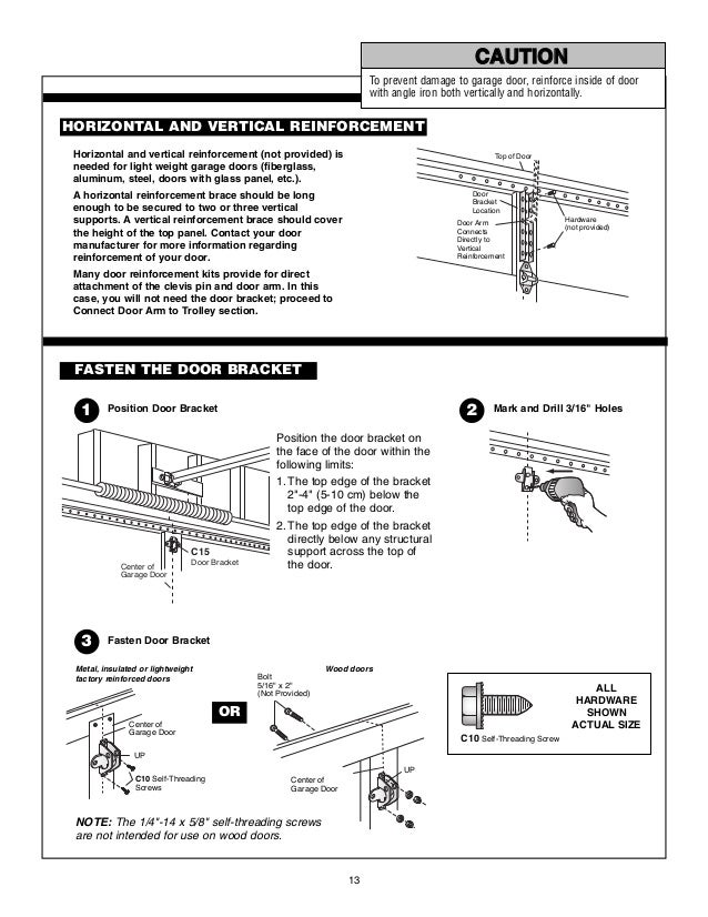 garage door installation instructions manual