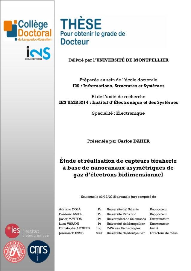 Délivré par l'UNIVERSITÉ DE MONTPELLIER Préparée au sein de l'école doctorale I2S : Informations, Structures et Systèmes E...