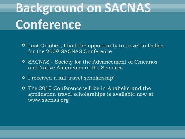Sacnas  Travel Scholarship