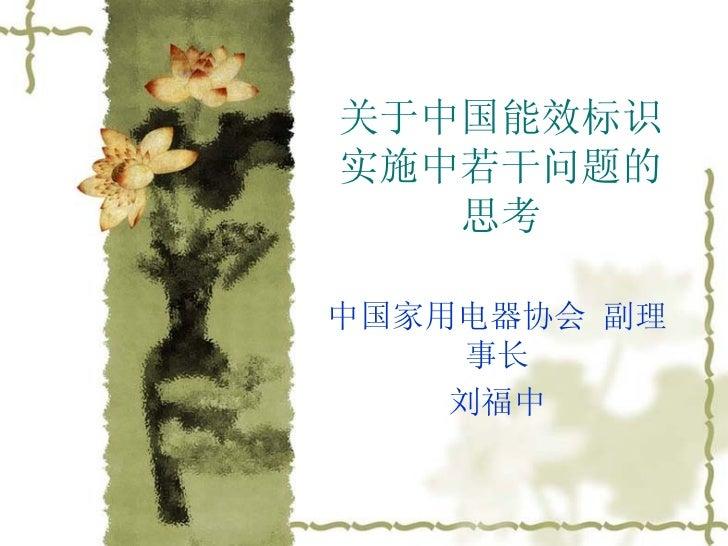 关于中国能效标识实施中若干问题的思考 中国家用电器协会 副理事长 刘福中