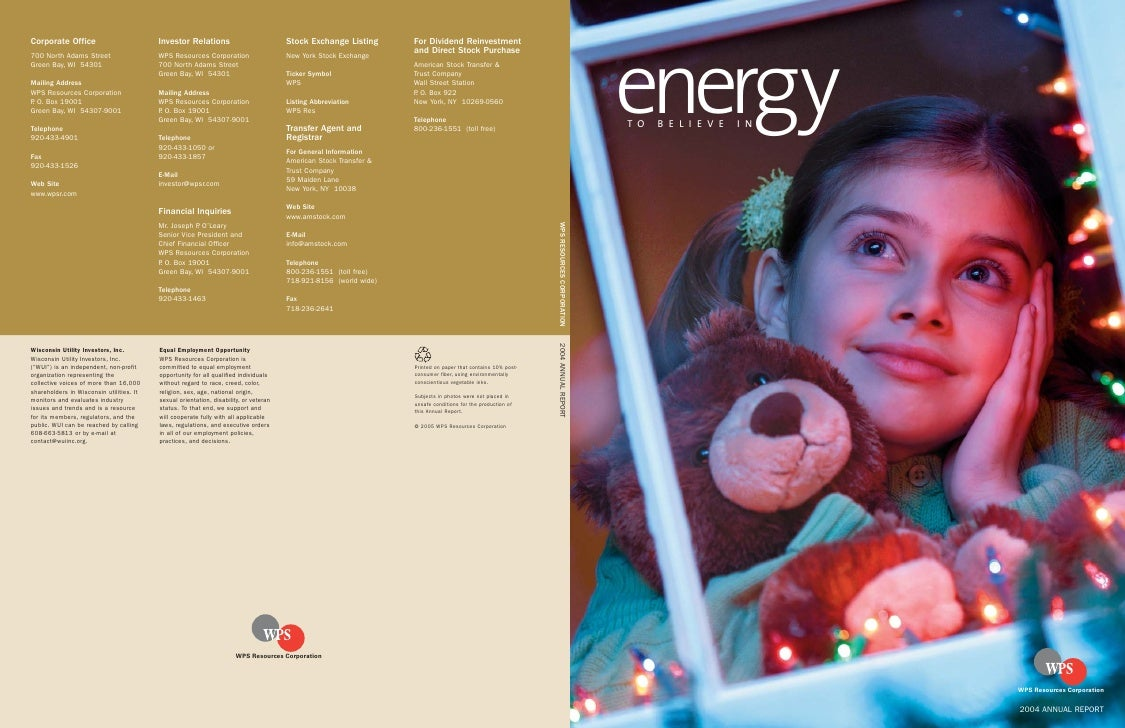 energy TO   BELIEVE   IN                         WPS Resources Corporation                       2004 ANNUAL REPORT