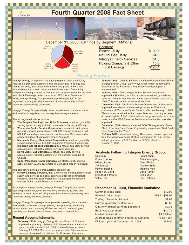 Fourth Quarter 2008 Fact Sheet                                  December 31, 2008, Earnings by Segment (Millions)         ...