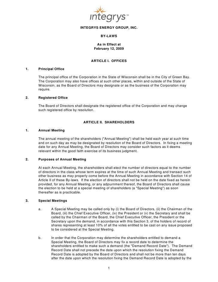 INTEGRYS ENERGY GROUP, INC.                                                BY-LAWS                                        ...