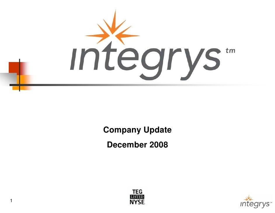 Company Update     December 2008     1                      1