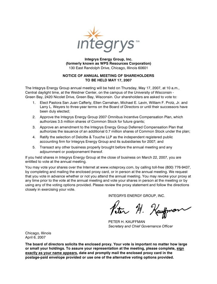 Integrys Energy Group, Inc.                          (formerly known as WPS Resources Corporation)                        ...